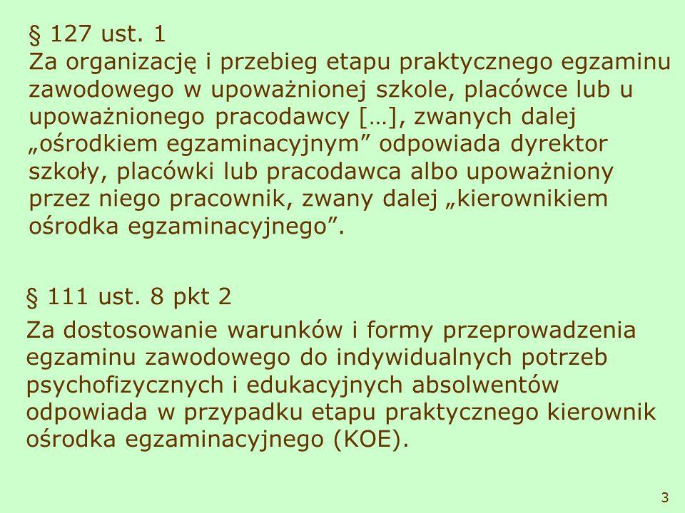 § 127 ust. 1 Za organizację i przebieg etapu praktycznego egzaminu zawodowego w upoważnionej szkole, placówce lub u upoważnionego pracodawcy […], zwan