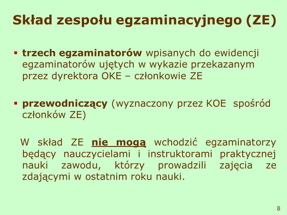 Skład zespołu egzaminacyjnego (ZE) trzech egzaminatorów wpisanych do ewidencji egzaminatorów ujętych w wykazie przekazanym przez dyrektora OKE – człon