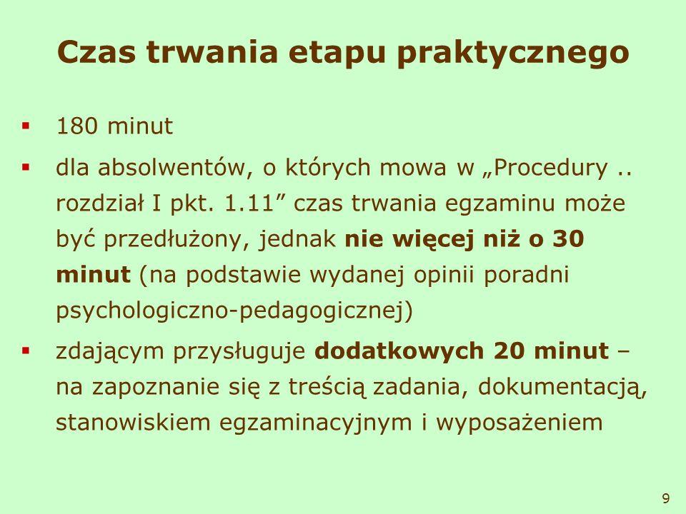 Czas trwania etapu praktycznego 180 minut dla absolwentów, o których mowa w Procedury.. rozdział I pkt. 1.11 czas trwania egzaminu może być przedłużon
