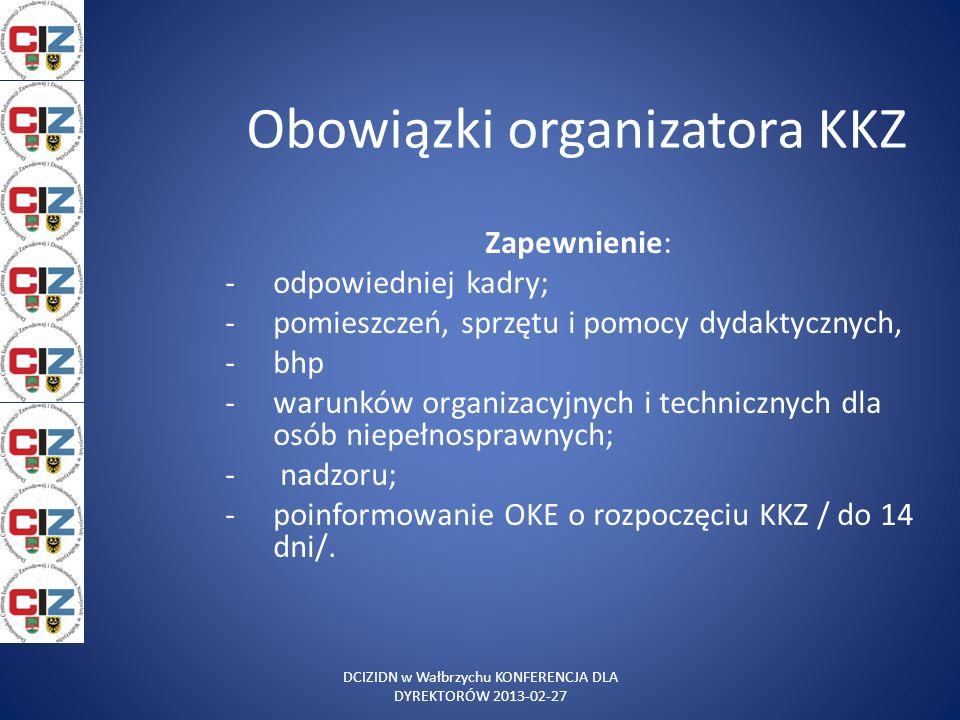 Obowiązki organizatora KKZ Zapewnienie: -odpowiedniej kadry; -pomieszczeń, sprzętu i pomocy dydaktycznych, -bhp -warunków organizacyjnych i techniczny