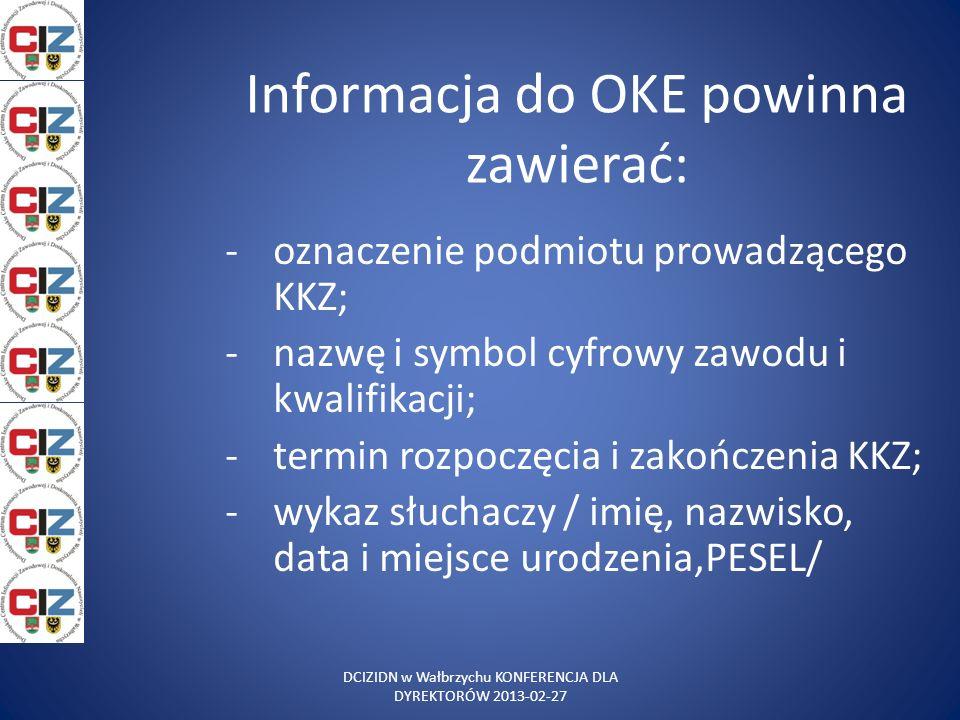 Informacja do OKE powinna zawierać: -oznaczenie podmiotu prowadzącego KKZ; -nazwę i symbol cyfrowy zawodu i kwalifikacji; -termin rozpoczęcia i zakońc