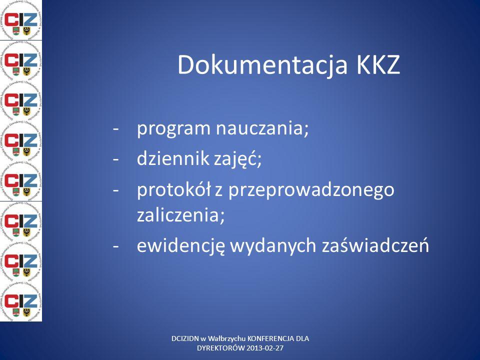 Dokumentacja KKZ -program nauczania; -dziennik zajęć; -protokół z przeprowadzonego zaliczenia; -ewidencję wydanych zaświadczeń DCIZIDN w Wałbrzychu KO