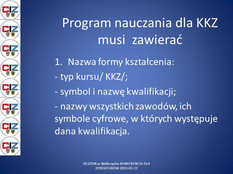 Program nauczania dla KKZ musi zawierać 1.Nazwa formy kształcenia: - typ kursu/ KKZ/; - symbol i nazwę kwalifikacji; - nazwy wszystkich zawodów, ich s