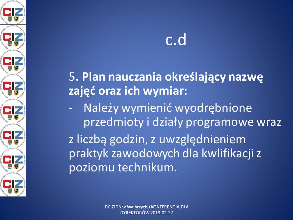 c.d 5. Plan nauczania określający nazwę zajęć oraz ich wymiar: -Należy wymienić wyodrębnione przedmioty i działy programowe wraz z liczbą godzin, z uw