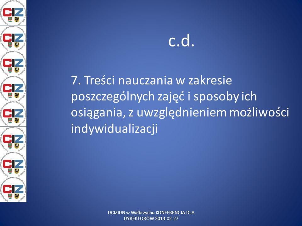 c.d. 7. Treści nauczania w zakresie poszczególnych zajęć i sposoby ich osiągania, z uwzględnieniem możliwości indywidualizacji DCIZIDN w Wałbrzychu KO