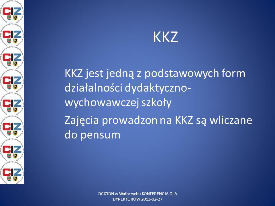 KKZ KKZ jest jedną z podstawowych form działalności dydaktyczno- wychowawczej szkoły Zajęcia prowadzon na KKZ są wliczane do pensum DCIZIDN w Wałbrzyc