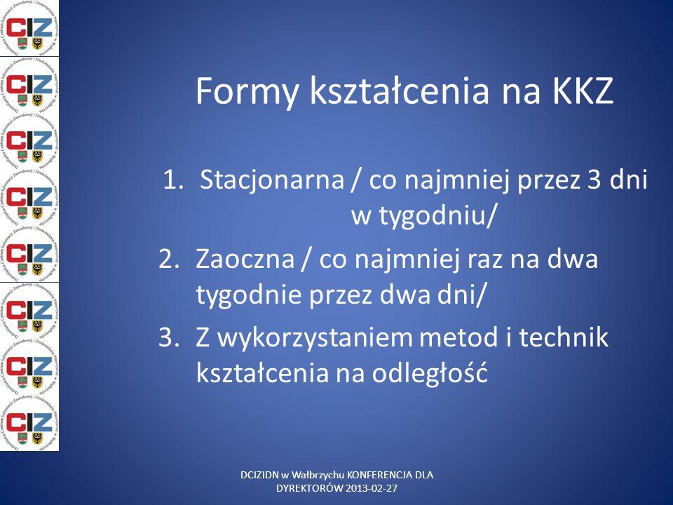 Formy kształcenia na KKZ 1.Stacjonarna / co najmniej przez 3 dni w tygodniu/ 2.Zaoczna / co najmniej raz na dwa tygodnie przez dwa dni/ 3.Z wykorzysta