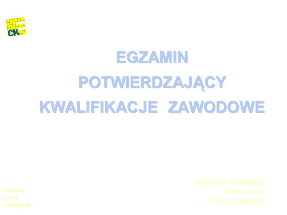 EGZAMIN POTWIERDZAJĄCY KWALIFIKACJE ZAWODOWE Katarzyna Koletyńska Halina Sitko Elżbieta Goźlińska EGZAMINACYJNA CENTRALNA KOMISJA