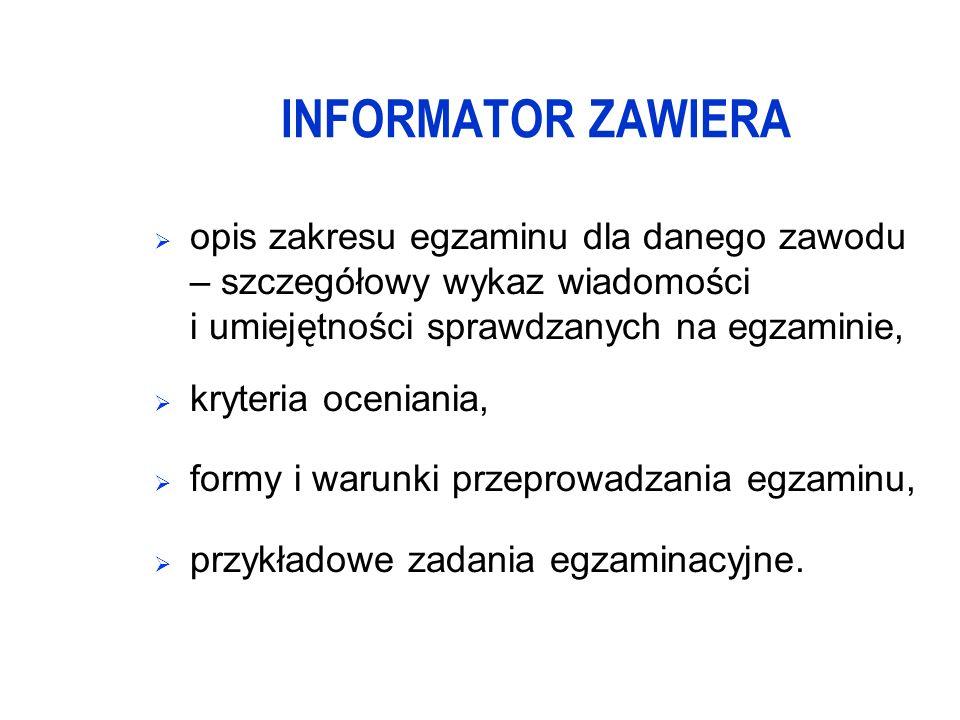 INFORMATOR ZAWIERA opis zakresu egzaminu dla danego zawodu – szczegółowy wykaz wiadomości i umiejętności sprawdzanych na egzaminie, kryteria oceniania, formy i warunki przeprowadzania egzaminu, przykładowe zadania egzaminacyjne.