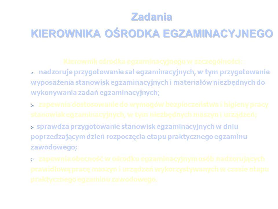 Zadania KIEROWNIKA OŚRODKA EGZAMINACYJNEGO Kierownik ośrodka egzaminacyjnego w szczególności: nadzoruje przygotowanie sal egzaminacyjnych, w tym przyg