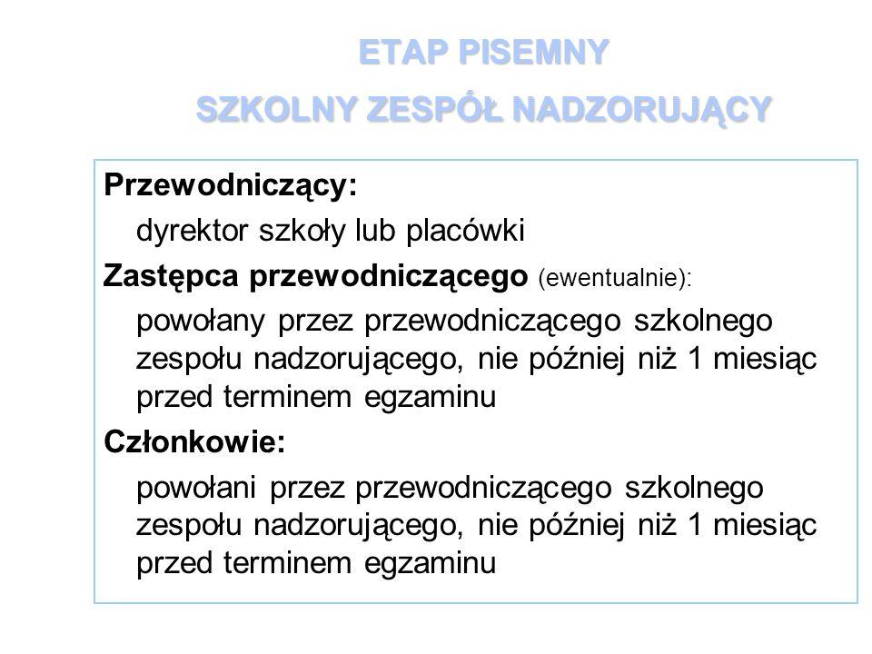 ETAP PISEMNY SZKOLNY ZESPÓŁ NADZORUJĄCY Przewodniczący: dyrektor szkoły lub placówki Zastępca przewodniczącego (ewentualnie): powołany przez przewodni