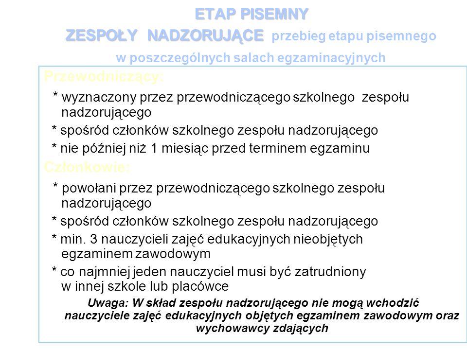 ETAP PISEMNY ZESPOŁYNADZORUJĄCE ETAP PISEMNY ZESPOŁY NADZORUJĄCE przebieg etapu pisemnego w poszczególnych salach egzaminacyjnych Przewodniczący: * wy