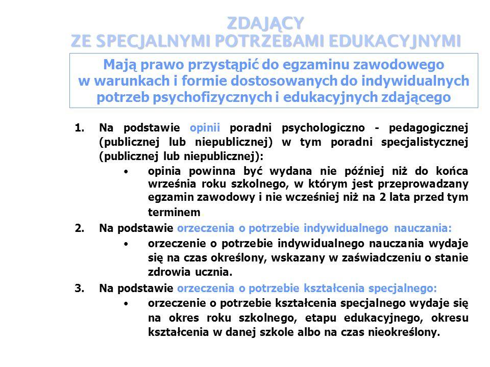 ZDAJ Ą CY ZE SPECJALNYMI POTRZEBAMI EDUKACYJNYMI Mają prawo przystąpić do egzaminu zawodowego w warunkach i formie dostosowanych do indywidualnych potrzeb psychofizycznych i edukacyjnych zdającego 1.Na podstawie opinii poradni psychologiczno - pedagogicznej (publicznej lub niepublicznej) w tym poradni specjalistycznej (publicznej lub niepublicznej): opinia powinna być wydana nie później niż do końca września roku szkolnego, w którym jest przeprowadzany egzamin zawodowy i nie wcześniej niż na 2 lata przed tym terminem.