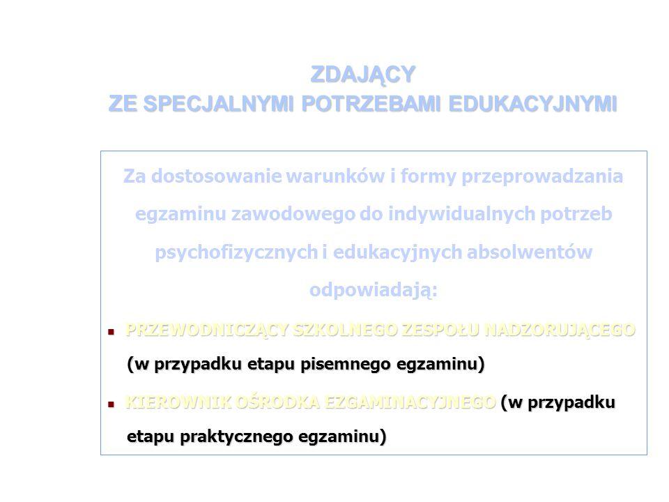 ZDAJĄCY ZE SPECJALNYMI POTRZEBAMI EDUKACYJNYMI Za dostosowanie warunków i formy przeprowadzania egzaminu zawodowego do indywidualnych potrzeb psychofizycznych i edukacyjnych absolwentów odpowiadają: PRZEWODNICZĄCY SZKOLNEGO ZESPOŁU NADZORUJĄCEGO (w przypadku etapu pisemnego egzaminu) PRZEWODNICZĄCY SZKOLNEGO ZESPOŁU NADZORUJĄCEGO (w przypadku etapu pisemnego egzaminu) KIEROWNIK OŚRODKA EZGAMINACYJNEGO (w przypadku etapu praktycznego egzaminu) KIEROWNIK OŚRODKA EZGAMINACYJNEGO (w przypadku etapu praktycznego egzaminu)