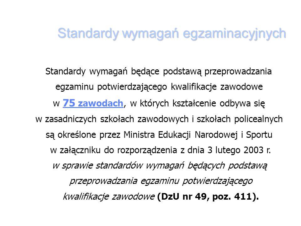 Standardy wymagań egzaminacyjnych Standardy wymagań będące podstawą przeprowadzania egzaminu potwierdzającego kwalifikacje zawodowe w 75 zawodach, w których kształcenie odbywa się w zasadniczych szkołach zawodowych i szkołach policealnych są określone przez Ministra Edukacji Narodowej i Sportu w załączniku do rozporządzenia z dnia 3 lutego 2003 r.