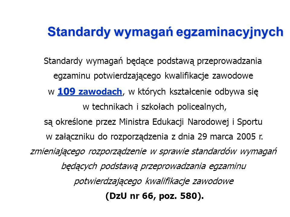 Standardy wymagań egzaminacyjnych Standardy wymagań będące podstawą przeprowadzania egzaminu potwierdzającego kwalifikacje zawodowe w 109 zawodach, w których kształcenie odbywa się w technikach i szkołach policealnych, są określone przez Ministra Edukacji Narodowej i Sportu w załączniku do rozporządzenia z dnia 29 marca 2005 r.