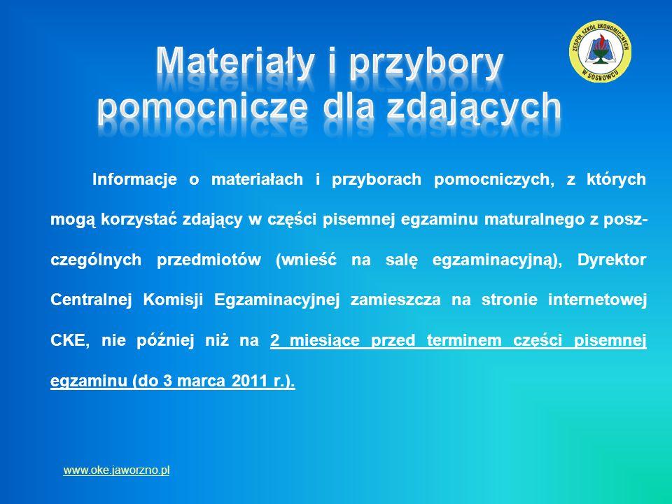 Informacje o materiałach i przyborach pomocniczych, z których mogą korzystać zdający w części pisemnej egzaminu maturalnego z posz- czególnych przedmi