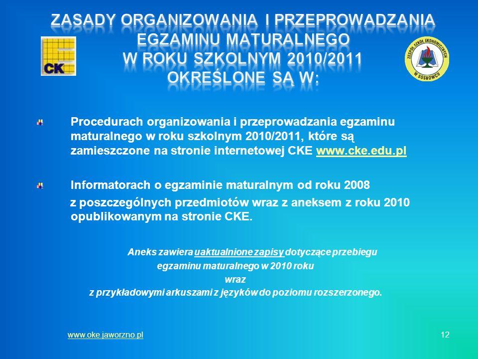 Procedurach organizowania i przeprowadzania egzaminu maturalnego w roku szkolnym 2010/2011, które są zamieszczone na stronie internetowej CKE www.cke.
