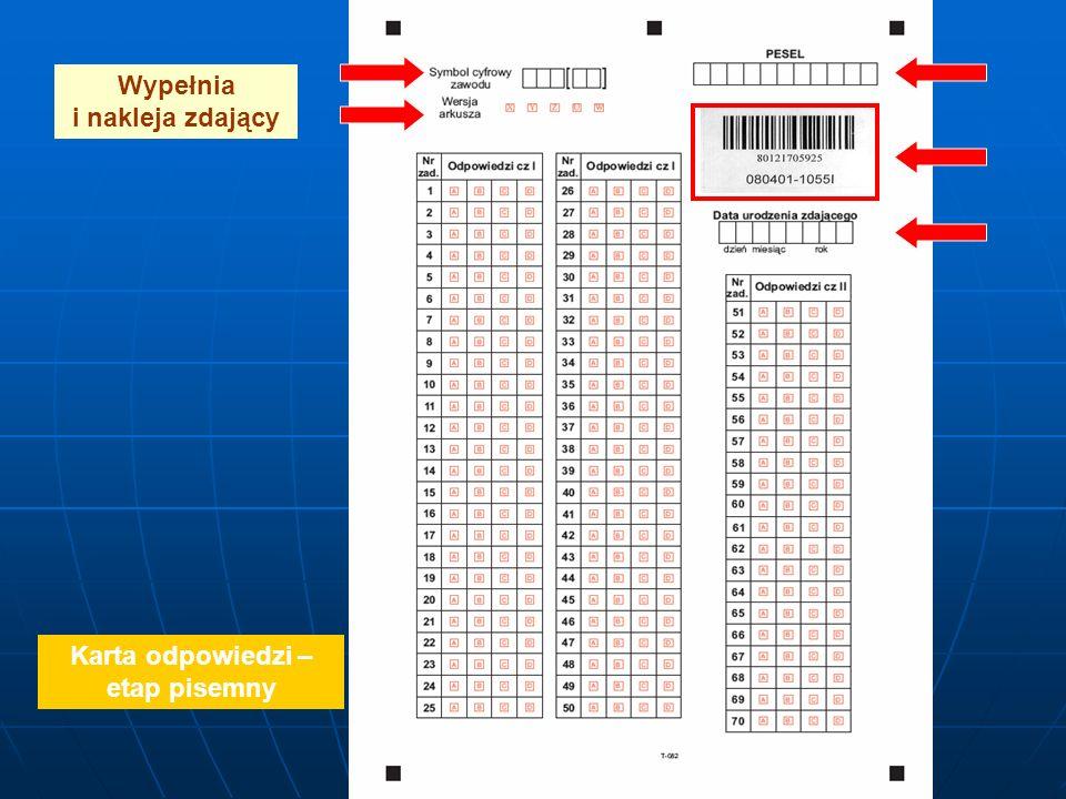 Wypełnia i nakleja zdający Karta odpowiedzi – etap pisemny