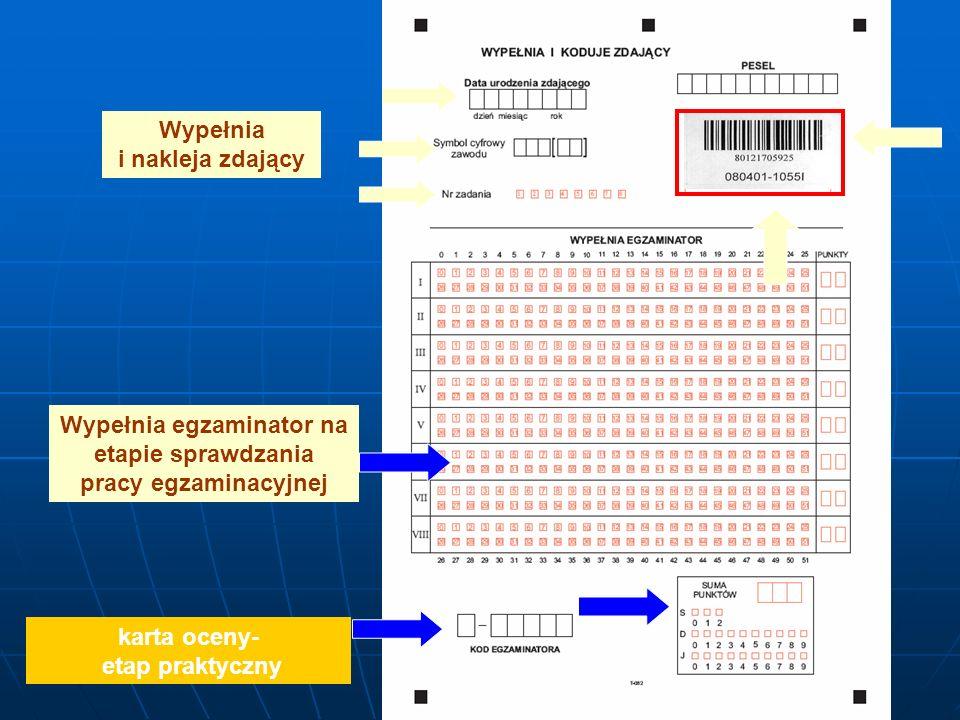 Wypełnia i nakleja zdający Wypełnia egzaminator na etapie sprawdzania pracy egzaminacyjnej karta oceny- etap praktyczny