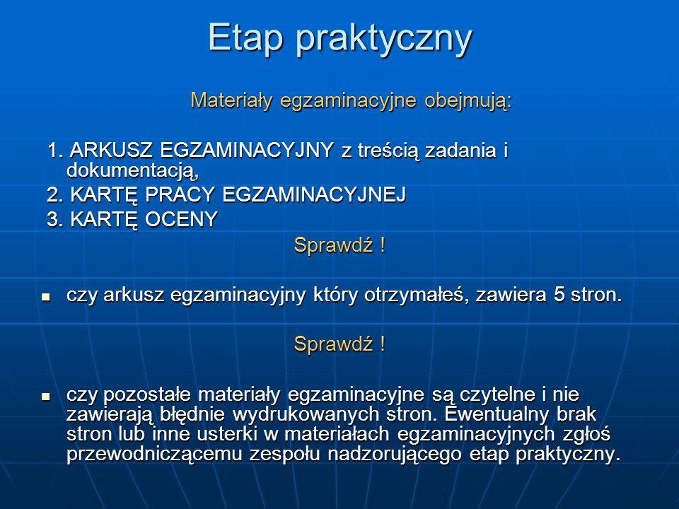 Etap praktyczny Materiały egzaminacyjne obejmują: Materiały egzaminacyjne obejmują: 1.
