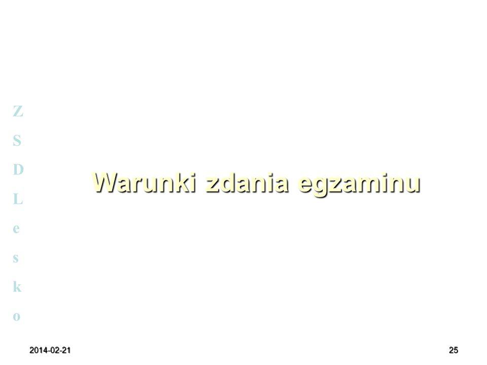 2014-02-2125 Warunki zdania egzaminu ZSDLeskoZSDLesko