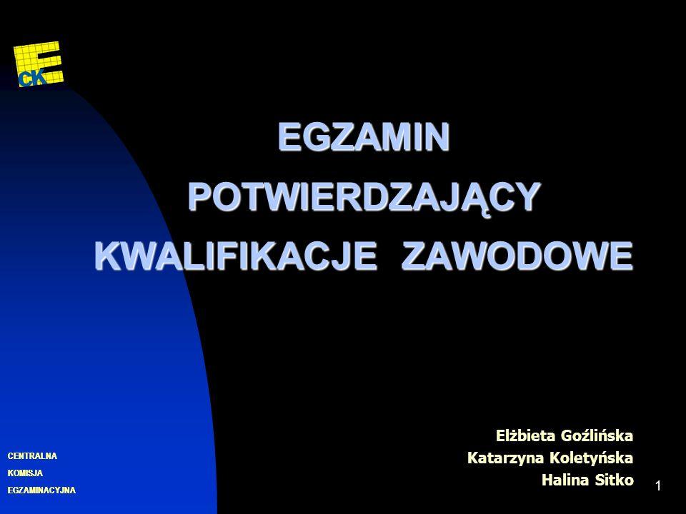 EGZAMINACYJNA CENTRALNA KOMISJA 1 EGZAMIN POTWIERDZAJĄCY KWALIFIKACJE ZAWODOWE Elżbieta Goźlińska Katarzyna Koletyńska Halina Sitko EGZAMINACYJNA CENTRALNA KOMISJA