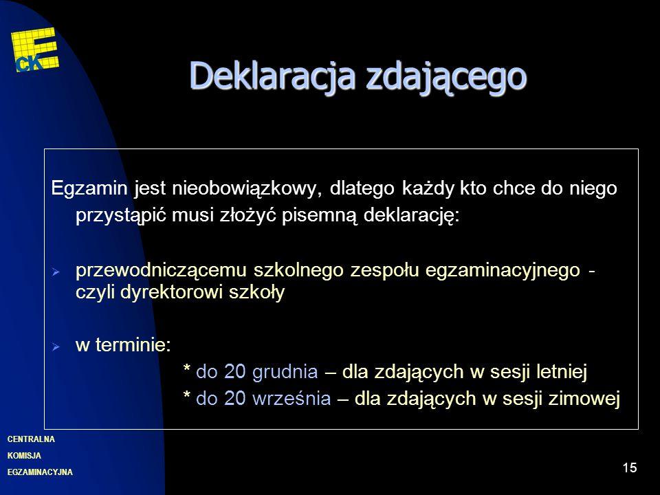 EGZAMINACYJNA CENTRALNA KOMISJA 15 Deklaracjazdającego Deklaracja zdającego Egzamin jest nieobowiązkowy, dlatego każdy kto chce do niego przystąpić musi złożyć pisemną deklarację: przewodniczącemu szkolnego zespołu egzaminacyjnego - czyli dyrektorowi szkoły w terminie: * do 20 grudnia – dla zdających w sesji letniej * do 20 września – dla zdających w sesji zimowej
