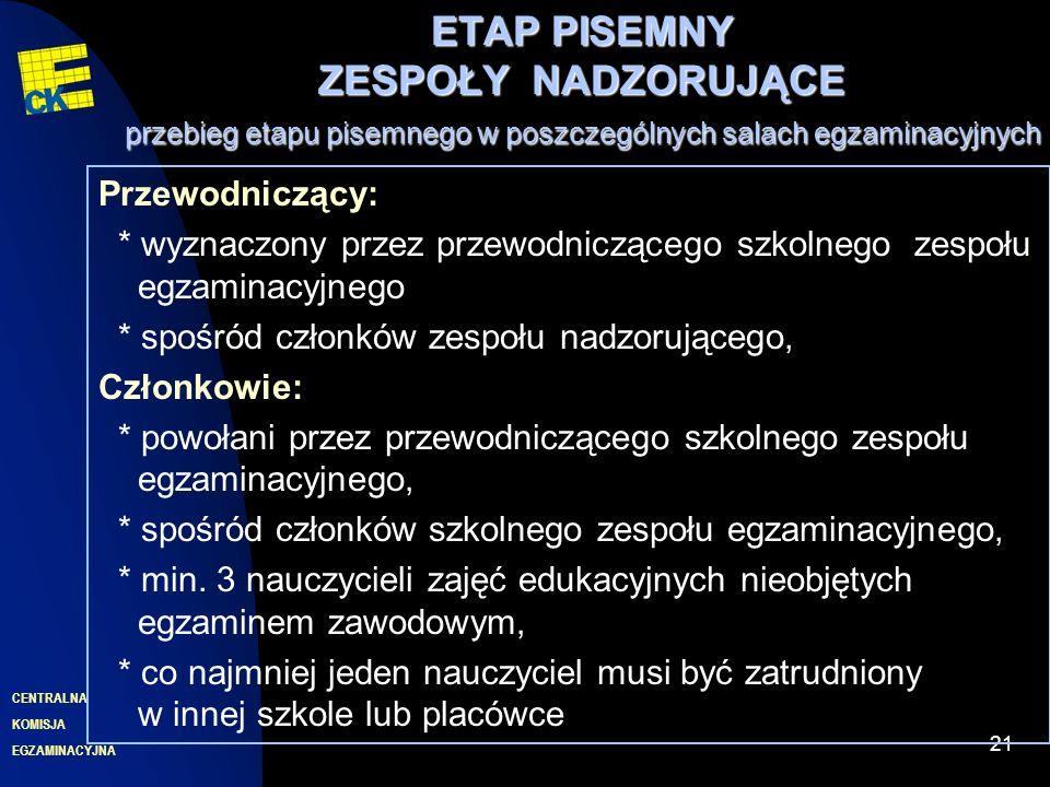 EGZAMINACYJNA CENTRALNA KOMISJA 21 ETAP PISEMNY ZESPOŁYNADZORUJĄCE przebieg etapu pisemnego w poszczególnych salach egzaminacyjnych ETAP PISEMNY ZESPOŁY NADZORUJĄCE przebieg etapu pisemnego w poszczególnych salach egzaminacyjnych Przewodniczący: * wyznaczony przez przewodniczącego szkolnego zespołu egzaminacyjnego * spośród członków zespołu nadzorującego, Członkowie: * powołani przez przewodniczącego szkolnego zespołu egzaminacyjnego, * spośród członków szkolnego zespołu egzaminacyjnego, * min.
