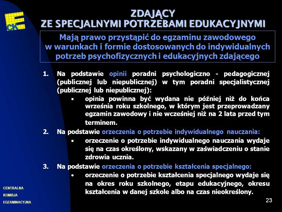 EGZAMINACYJNA CENTRALNA KOMISJA 23 ZDAJ Ą CY ZE SPECJALNYMI POTRZEBAMI EDUKACYJNYMI Mają prawo przystąpić do egzaminu zawodowego w warunkach i formie dostosowanych do indywidualnych potrzeb psychofizycznych i edukacyjnych zdającego 1.Na podstawie opinii poradni psychologiczno - pedagogicznej (publicznej lub niepublicznej) w tym poradni specjalistycznej (publicznej lub niepublicznej): opinia powinna być wydana nie później niż do końca września roku szkolnego, w którym jest przeprowadzany egzamin zawodowy i nie wcześniej niż na 2 lata przed tym terminem.