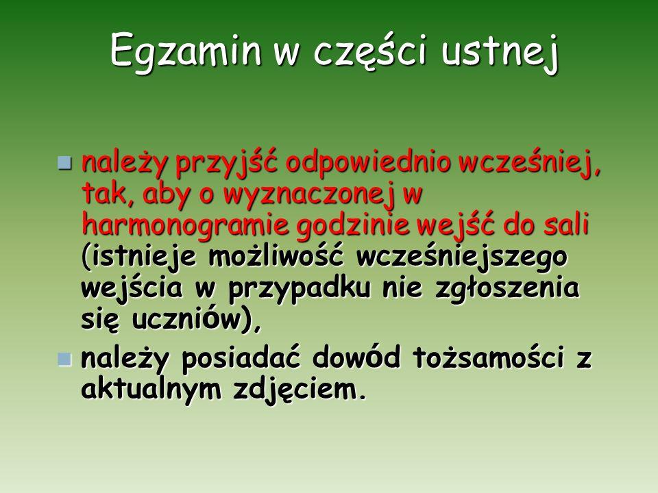 Egzamin w części ustnej – język polski Zdający, po okazaniu dokumentu tożsamości wchodzi na salę – zgodnie z harmonogramem.