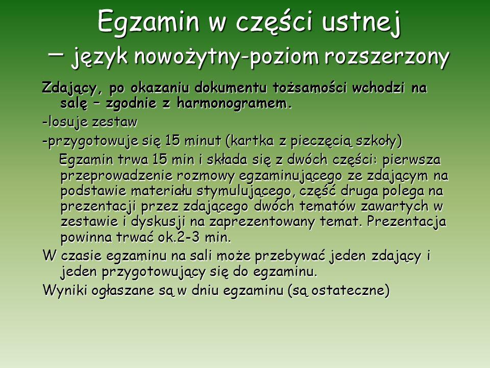 Egzamin w części ustnej – język nowożytny-poziom rozszerzony Zdający, po okazaniu dokumentu tożsamości wchodzi na salę – zgodnie z harmonogramem. -los