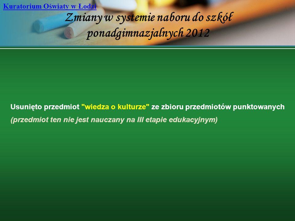 Zmiany w systemie naboru do szkół ponadgimnazjalnych 2012 Kuratorium Oświaty w Łodzi Usunięto przedmiot