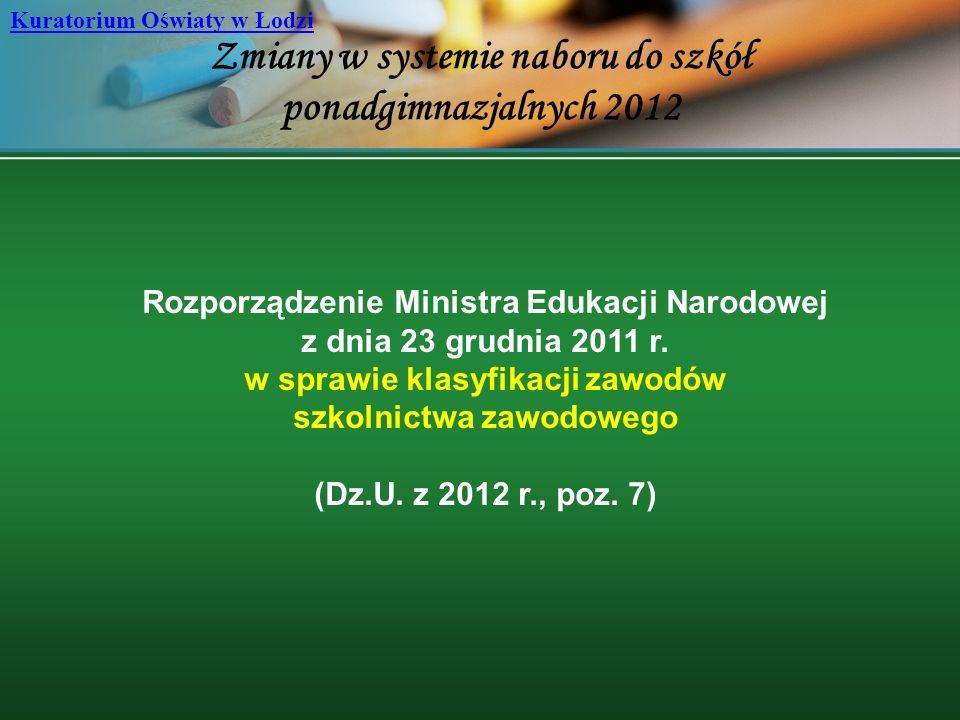 Zmiany w systemie naboru do szkół ponadgimnazjalnych 2012 Kuratorium Oświaty w Łodzi Rozporządzenie Ministra Edukacji Narodowej z dnia 23 grudnia 2011