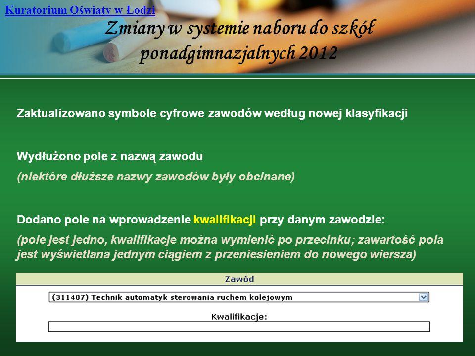 Zmiany w systemie naboru do szkół ponadgimnazjalnych 2012 Kuratorium Oświaty w Łodzi Zaktualizowano symbole cyfrowe zawodów według nowej klasyfikacji