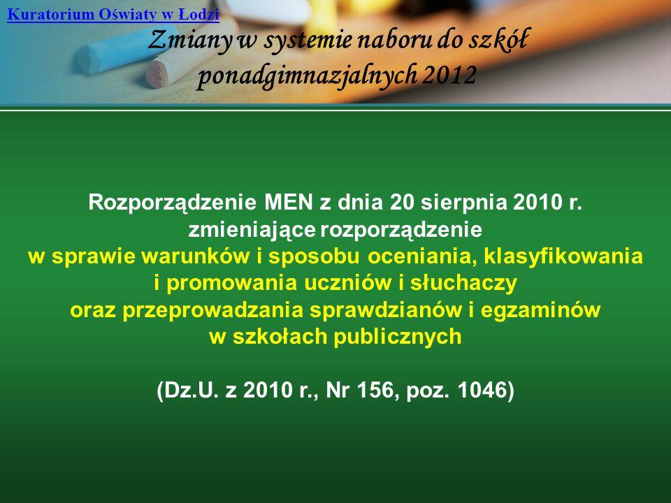 Zmiany w systemie naboru do szkół ponadgimnazjalnych 2012 Kuratorium Oświaty w Łodzi Rozporządzenie MEN z dnia 20 sierpnia 2010 r. zmieniające rozporz