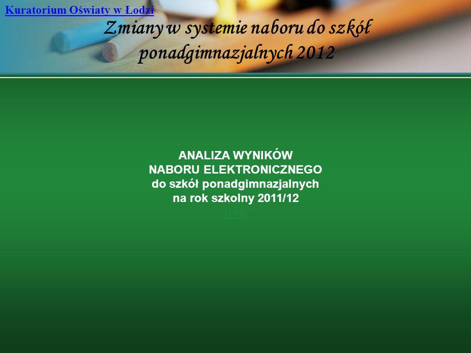 Zmiany w systemie naboru do szkół ponadgimnazjalnych 2012 Kuratorium Oświaty w Łodzi ANALIZA WYNIKÓW NABORU ELEKTRONICZNEGO do szkół ponadgimnazjalnyc