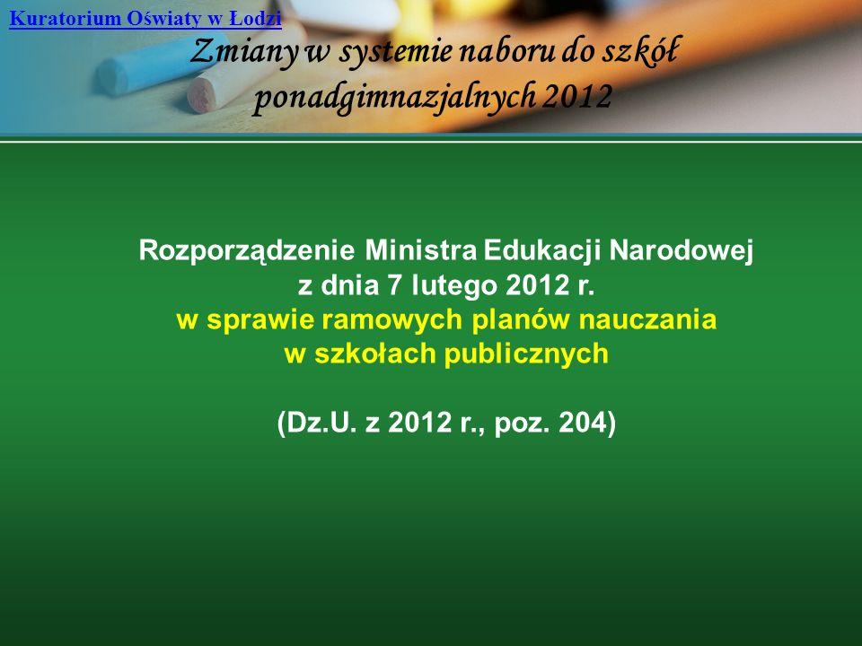 Zmiany w systemie naboru do szkół ponadgimnazjalnych 2012 Kuratorium Oświaty w Łodzi Rozporządzenie Ministra Edukacji Narodowej z dnia 7 lutego 2012 r