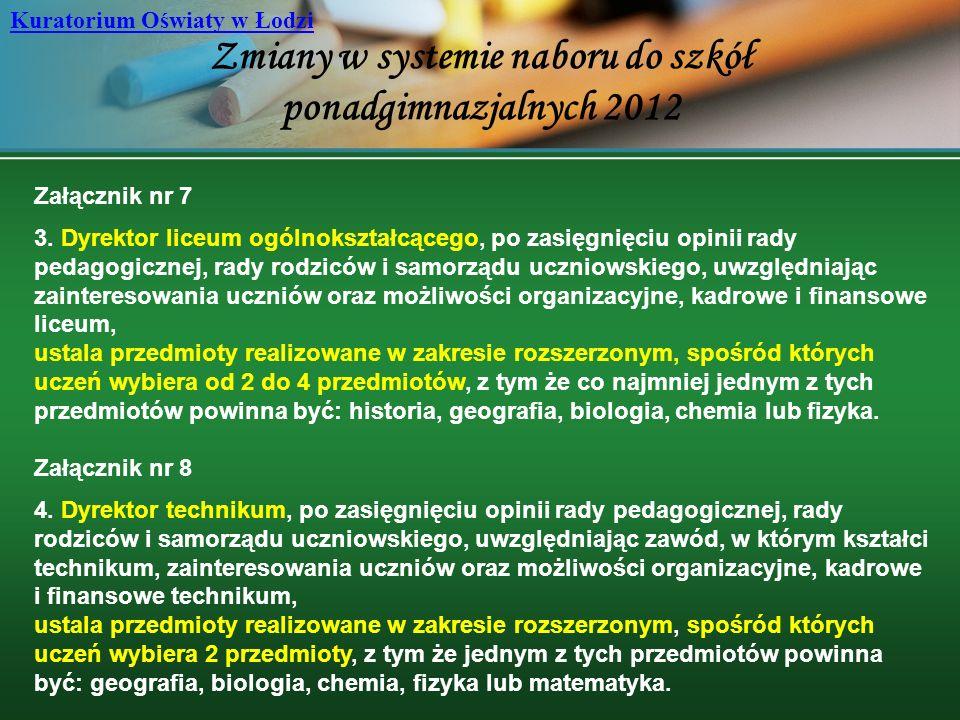 Zmiany w systemie naboru do szkół ponadgimnazjalnych 2012 Kuratorium Oświaty w Łodzi Załącznik nr 7 3. Dyrektor liceum ogólnokształcącego, po zasięgni
