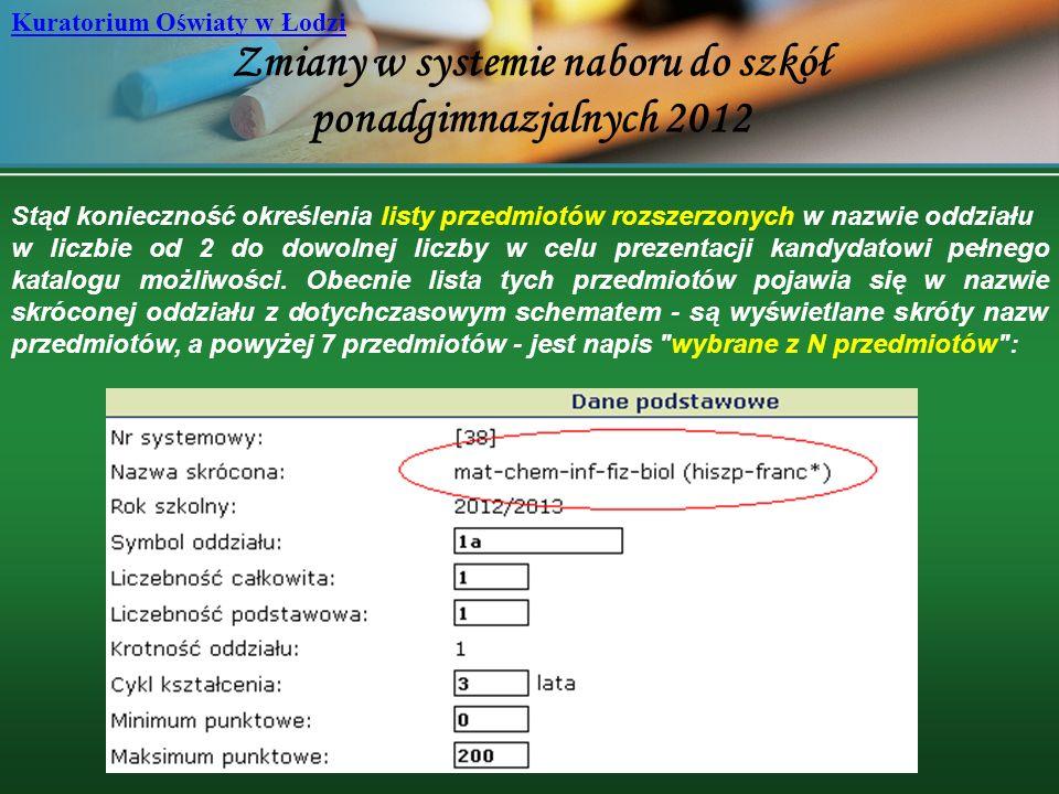 Zmiany w systemie naboru do szkół ponadgimnazjalnych 2012 Kuratorium Oświaty w Łodzi