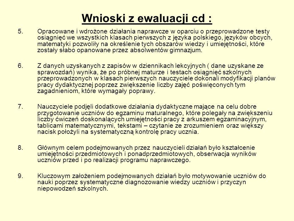 Wnioski z ewaluacji cd : 5.Opracowane i wdrożone działania naprawcze w oparciu o przeprowadzone testy osiągnięć we wszystkich klasach pierwszych z jęz
