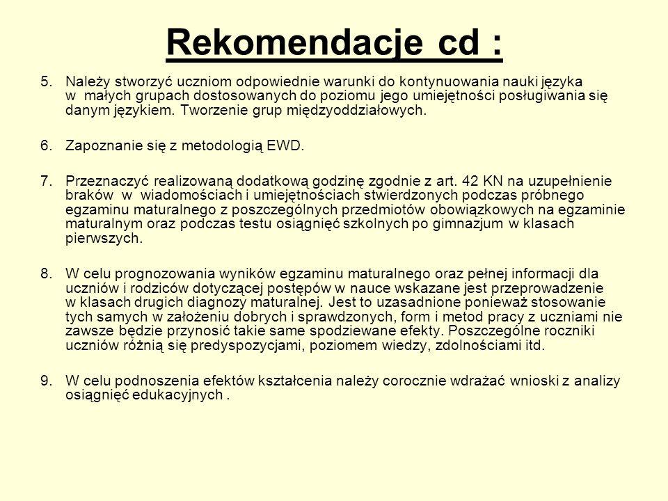 Rekomendacje cd : 5.Należy stworzyć uczniom odpowiednie warunki do kontynuowania nauki języka w małych grupach dostosowanych do poziomu jego umiejętno