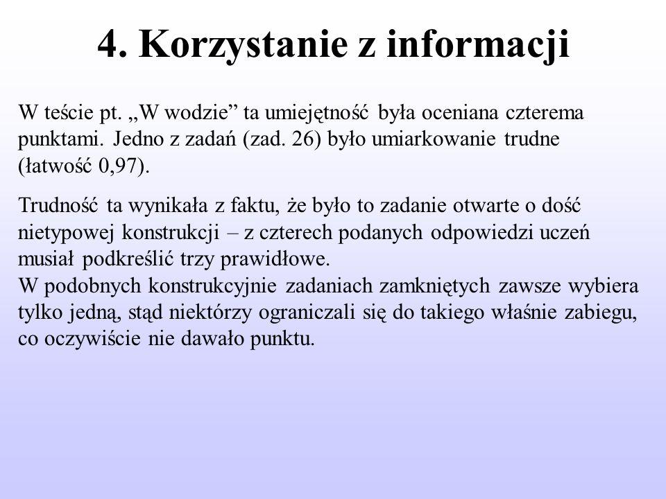 4. Korzystanie z informacji W teście pt. W wodzie ta umiejętność była oceniana czterema punktami.