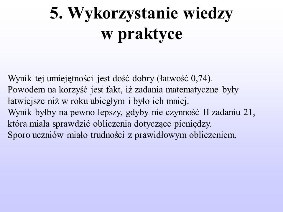 5. Wykorzystanie wiedzy w praktyce Wynik tej umiejętności jest dość dobry (łatwość 0,74).