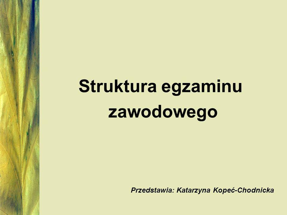 Struktura egzaminu zawodowego Przedstawia: Katarzyna Kopeć-Chodnicka