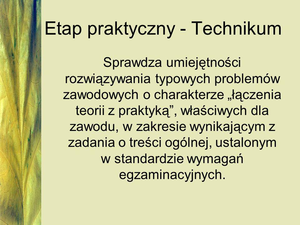 Etap praktyczny - Technikum Sprawdza umiejętności rozwiązywania typowych problemów zawodowych o charakterze łączenia teorii z praktyką, właściwych dla