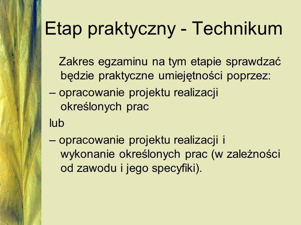 Etap praktyczny - Technikum Zakres egzaminu na tym etapie sprawdzać będzie praktyczne umiejętności poprzez: – opracowanie projektu realizacji określon