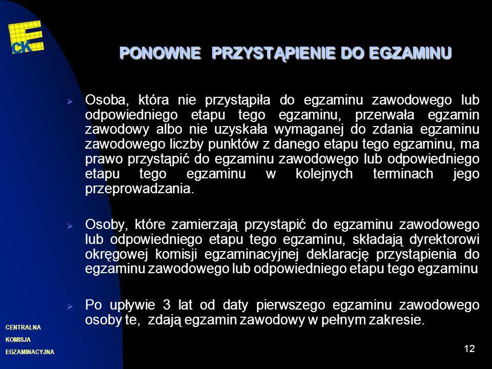 EGZAMINACYJNA CENTRALNA KOMISJA 12 PONOWNEPRZYSTĄPIENIE DO EGZAMINU PONOWNE PRZYSTĄPIENIE DO EGZAMINU Osoba, która nie przystąpiła do egzaminu zawodow