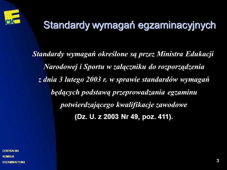 EGZAMINACYJNA CENTRALNA KOMISJA 3 Standardy wymagań egzaminacyjnych Standardy wymagań określone są przez Ministra Edukacji Narodowej i Sportu w załączniku do rozporządzenia z dnia 3 lutego 2003 r.