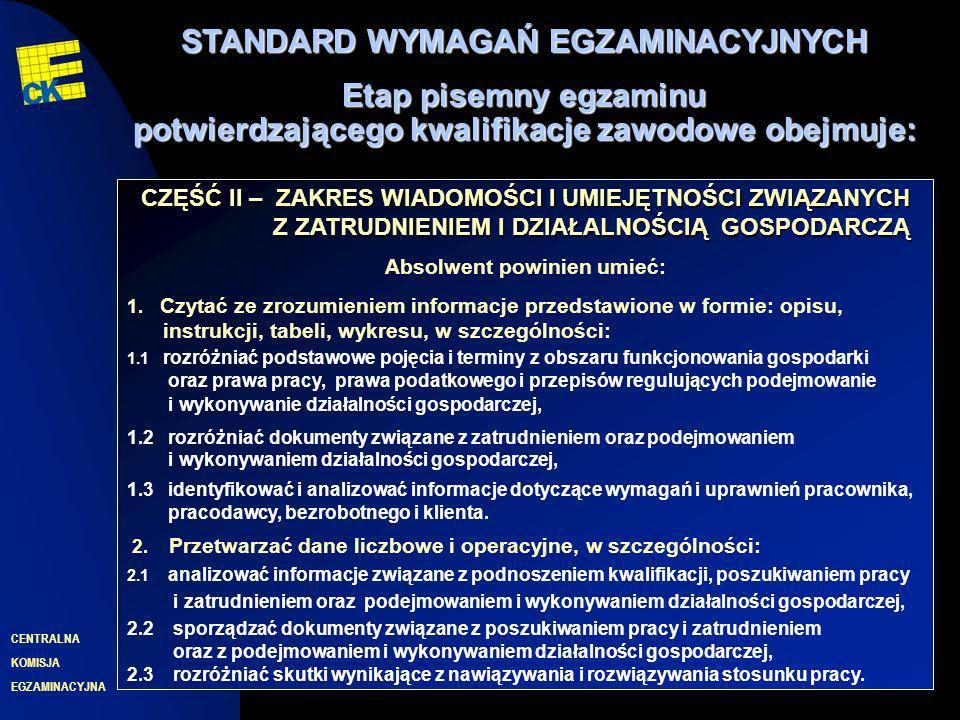 EGZAMINACYJNA CENTRALNA KOMISJA 8 CZĘŚĆ II – ZAKRES WIADOMOŚCI I UMIEJĘTNOŚCI ZWIĄZANYCH Z ZATRUDNIENIEM I DZIAŁALNOŚCIĄ GOSPODARCZĄ Absolwent powinien umieć: 1.